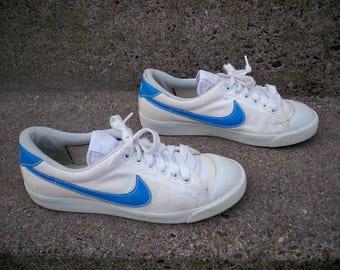 Vintage 80's Blue Nike Cortez Running Shoes Swoosh