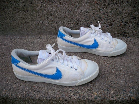 nike retro canvas sneaker with blue swoosh