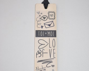 Bookmark wooden - you + me - love