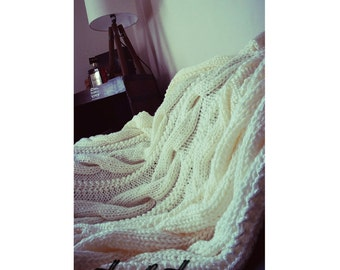 cable afghan / cable knit / cabled blanket / bedroom decor / rustic bedroom / sofa throw / hand knit / wedding gift / new home / country