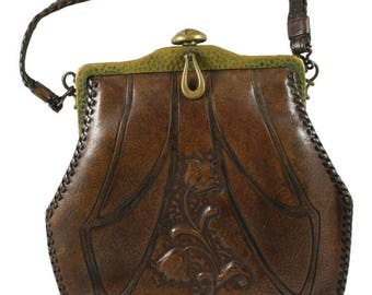 Antique Art Nouveau Tooled Leather Purse, c  1910