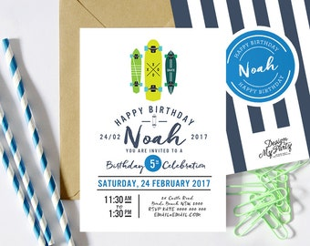 Skateboard Invitations (Personalised DIY Printables)