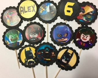 24 Lego Batman Cupcake Toppers (birthday cupcake toppers)