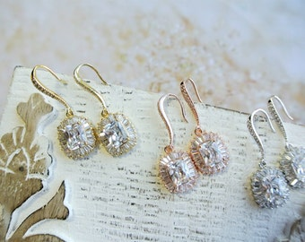 Crystal Bridal Earrings Teardrop Crystal Wedding Jewelry Cubic Zirconia Bridesmaid Earring Bridal Accessories Teardrop Earrings Rose gold