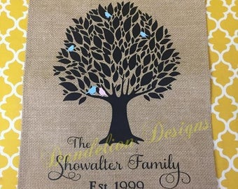 Family Tree Garden Flag Burlap Spring Birds Branches Wedding Gift
