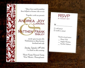 Classic Damask Wedding Invitations Printed Personalized