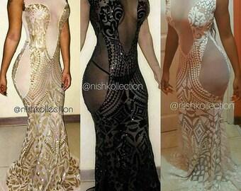 Custom prom SEQUIN ALLELE sheer lace sleeveless open back mermaid  dress / ball gown/ evening wedding dress
