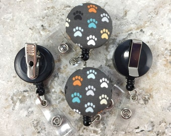 Retractable Badge Holder - Fabric Covered Button - Paws