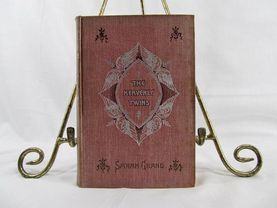 The Heavenly Twins, Madame Sarah Grand, Published by Cassell Publishing, New York 1893 Hardcover First Edition Antique Book Red Silver