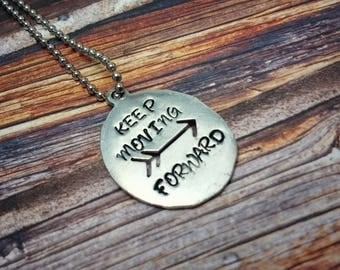Keep Moving Forward Necklace, Pewter