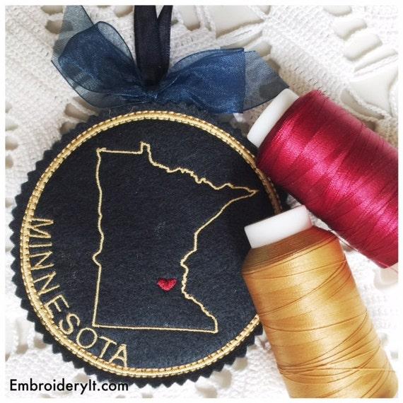 I heart minnesota coaster and ornament machine embroidery for Tattoo grand rapids mn