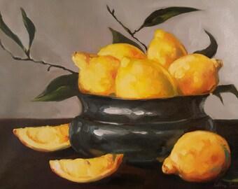 Reserved- Bright Yellow Lemons in Metal Bowl- Original Still Life Fruit Oil Painting- Ripe Citrus Food Kitchen Art- Impressionist Home Decor