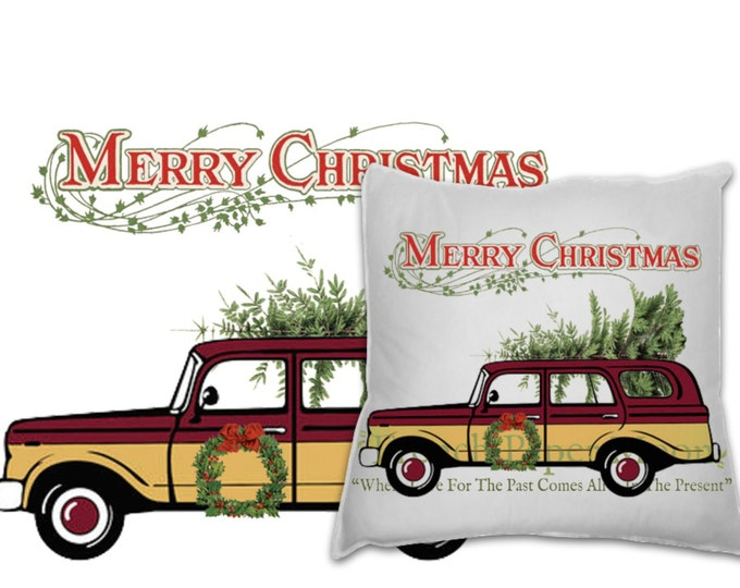 Retro Digital Christmas Car with Tree, Instant Download Christmas Pillow Image, Xmas Fabric Transfer Digital
