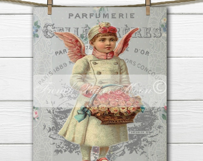 Shabby Chic Victorian Angel Boy, Basket of Roses, French Angel Pillow Image, Printable Vintage Holiday Graphic Transfer