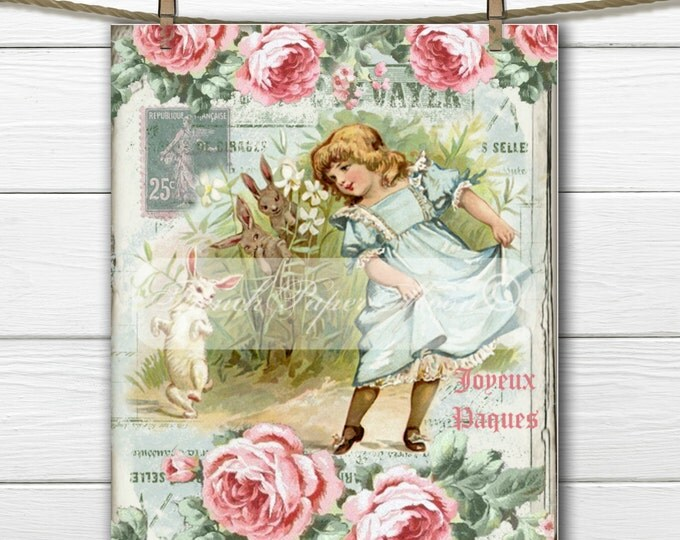 Adorable Shabby easter Girl, Bunny, Roses, French Graphics, french Pillow Graphic Transfer Image