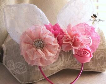headband with ears - adult bunny ears -  cute bunny ears - lace bunny ears headband - Pink bunny ears - Easter bunny ears - Bunny headband