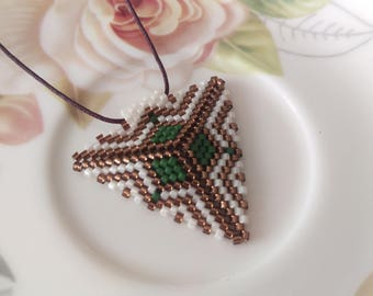 Green Triangle Beadwork Necklace, Green and Brown Beadwork Necklace, Wedding Pendant, Beadwork Jewelry, Gift For Woman, For Her