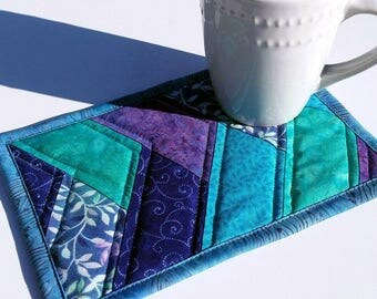 Quilted Batik Mug Rug: friendship braid mug rug, teal blue and purple candle mat, herringbone snack mat, modern patchwork large coaster