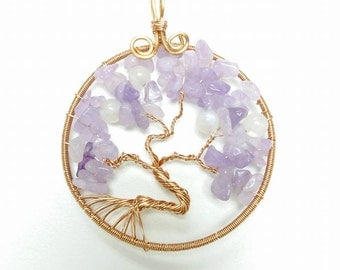 Tree of Life for Wisdom - Lavender Amethyst & Moonstone Wire Wrapped Pendant