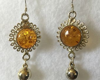 Amber drop earrings in Tibetan Silver with Sterling Silver Wires