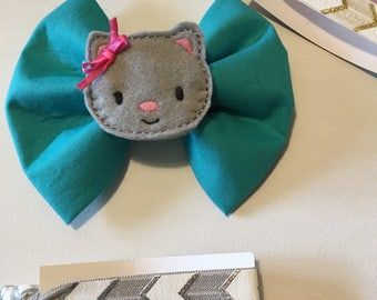 Teal hair bow, kitty hair clip, hair ties, gift set, birthday gift, girls hair bow, gray kitty, embroidered clip