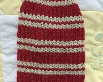 Red and beige small pet sweater