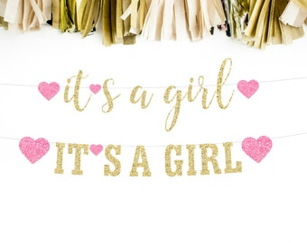 It's A Girl Banner, Gender Reveal Party, Baby Announcement, Baby Shower, New Baby Banner, Cursive Banner, Girl Baby Shower, Sprinkle Shower