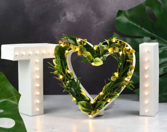 Botanical wedding, pantone2017, Light up wedding initials and foliage heart, light up letters, letter lights, flower letters, marquee lights