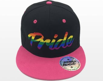 """Flat Bill Snapback Cap Hat LGBT """"Pride"""" Two Tone Black/Pink Transgender embroidered.  Show your pride as part of  a pride event. Many colors"""