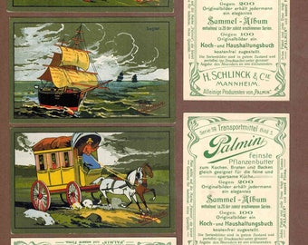 Vintage Victorian Trade TRANSPORTATION issued 1900's complete set of rare six cards cards