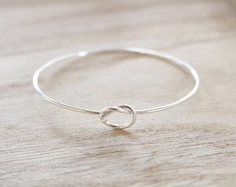 Sterling silver knot bangle, love knot, knot cuff, knot bangle, love knot bracelet, friendship bracelet, promise bracelet, cuff, silver knot
