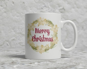 Christmas Mug, Merry Christmas, Wreath
