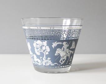 Vintage Jasperware Glass Ice Bucket Blue White Mid Century