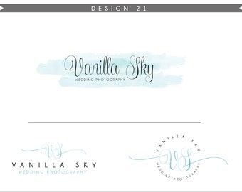 Watercolor Logo Design Branding Package Inc. Photography Logo Watermark - SKY blue initials letters script cute Watercolor Logo- Logo 21