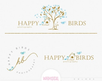 Whimsical handmade tree - Premade Photography Logo and Watermark, Classic Elegant Script Font GOLD GLITTER TREE children Calligraphy Logo