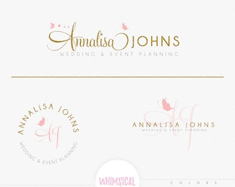 Little Butterflies-  Feminine Watercolor Design Branding Package Inc. Photography - GOLD GLITTER initials letters script Watercolor Logo