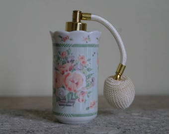 Floral Perfume Atomizer - Roses, Vanity, Perfume Bottle.