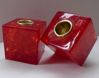 Funky Pair of 1970s Scarlet Red Resin STATTALINE Cube Shaped Candlesticks or Candle Holders