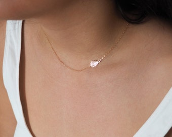 Off Side Feather Necklace, Sideways Necklace, Gift for Her, Available in Sterling Silver, Gold and Rose Gold