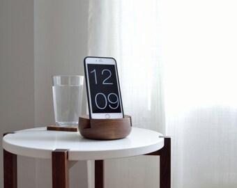 Natural Walnut - Handturned Phone Stand - Tablet Stand - Bedside Phone Stand