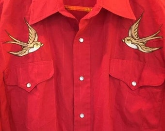 VINTAGE RETRO 1970's Man Flying R Ranchwear Embroidered Birds ROCKABILLY
