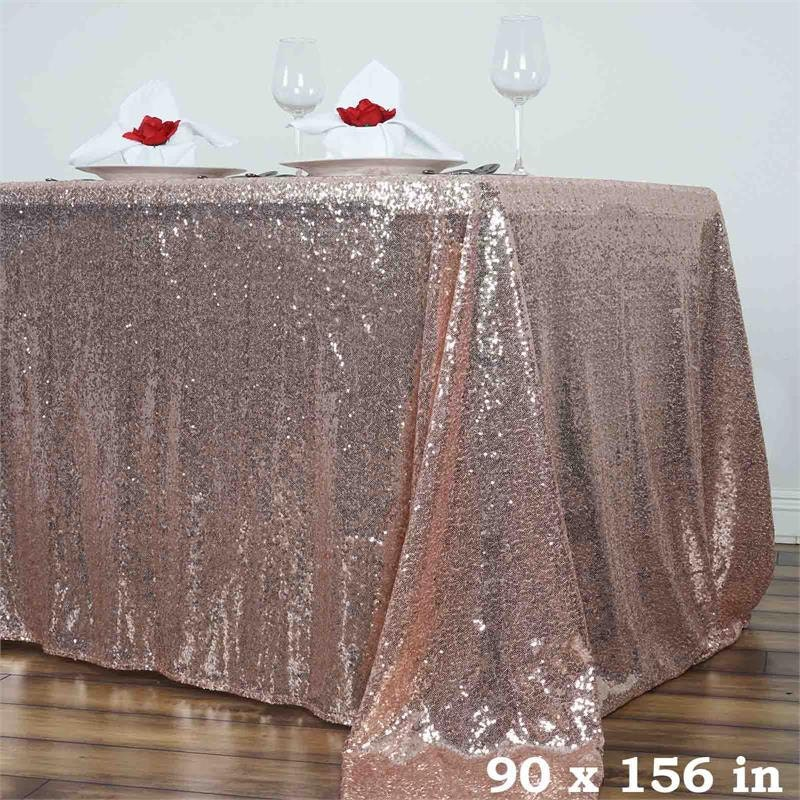 Blush Sequin Tablecloth Rectangle Sequin Tablecloth