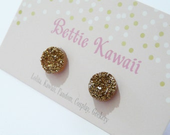 Gold Druzy Earrings Faux Crystal Studs Witchy Fairie Sparkly Accessory Hippie Jewellery Iridescent Jewelry Glitter Sun Woodland Gift Earthy