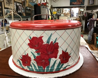 Metal cake carrier red and white tin