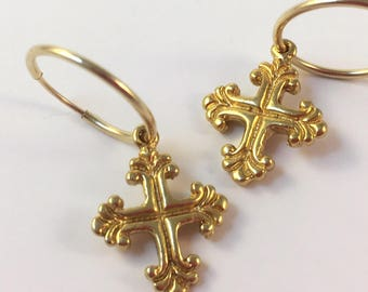 LINA CROSS HOOPS, gold hoops, gold cross hoops, cross hoops, cross earrings, gold cross earrings