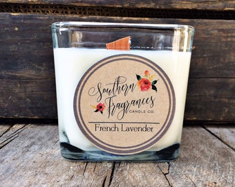 French Lavender Candle | 12oz Soy Candle | Southern Fragrances | Soothing Lavender Candle | Spring Candle | Spa Candle | Wood Wick Candle