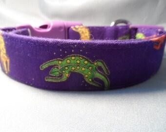 Purple Dog Collar, Laurel Burch Fabric, Geckos