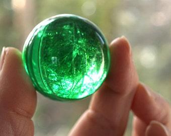 """Green Magic Crystal Ball  Large Marble Huge Glass Ball 39mm 1 1/2"""" Big Glass Marble Vintage Marble Colorful Sphere Collectors Marble + Stand"""