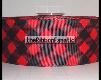 "3 yds 2.25"" Red and Black Buffalo Plaid Check Lumberjack Grosgrain Ribbon"