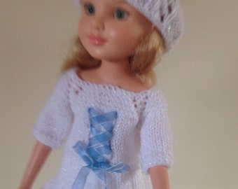"""Sparkle white and blue trim dress and hat to fit BFC, BJD MSD , Sasha 17"""" 18"""" dolls"""